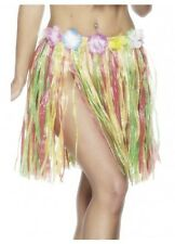 Short Multi Coloured Hawaiian Hula costume skirt flowers summer party