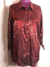 "Avenue 22/24 50""Bust 2X? Red Holiday Party Career Women Blouse Top Shirt NN17"