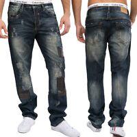 Ausgefallene Herren 5-Pocket Jeans Hose Four Star destroyed Patches Regular Fit