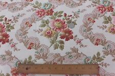 """Antique French Home Decor Floral & Lacy Ribbons Old Fabric c.1890~27""""LX32""""W"""