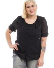 NEW..Lovely Stylish Plus Size Black Top with Ruffled Collar.Sz20/3XL