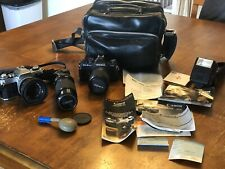 Vintage Camera And Accessories Lot Flash Lens Canon Yashica