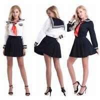 Women Long Sleeve School Uniform Sailor Shirt Pleated Skirt Set Cosplay Costume