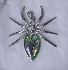 Large SPIDER or TARANTULA PENDANT - Abalone Shell & Crystals - Rhodium - WHIMSY!