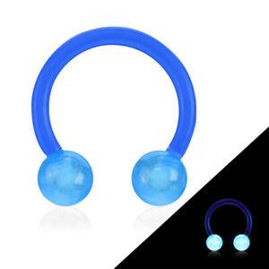 "2 PC 16g 3/8"" Glow In Dark Circular Barbell Horseshoe Bio Flex Ear Ring 4MM Ball"