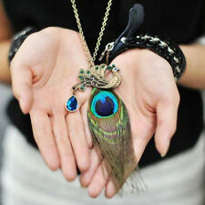 Bohemian Crystal Rhinestone Peacock Feather Pendant Long Chain Necklace Gift