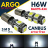 H6W LED SMD 433 434 BAX9S OFFSET PINS CAR SIDE LIGHT BULBS ERROR FREE CANBUS 12V