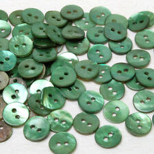 MB618 Green Mother of Pearl Round Shell Buttons Art Sewing Craft DIY 10mm 100pcs