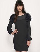 Warehouse Black Sheer Sleeves Ruffle Shoulder Tunic Smock Dress Size 10