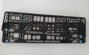 2 x CAR Number Plate Surround Frames Holder will fit VW - Volkswagon Wolfsburg