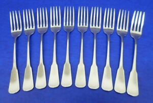 10 - SSS by Oneida COLONIAL BOSTON Satin Handle Stainless Flatware DINNER FORKS