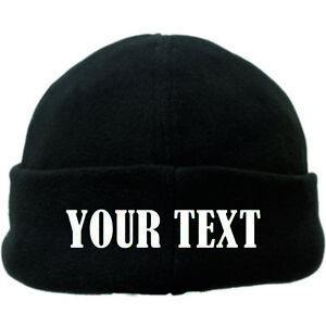 Personalised Embroidered Micro Fleece Beanie / Winter Hat in 7 colours