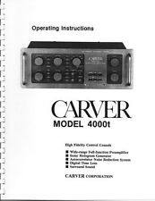 Carver 4000t Control Console Owners Manual