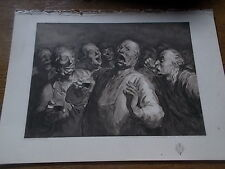 Antique 1904 Reproduction Etching LES BUVEURS from a watercolour by H Daumier