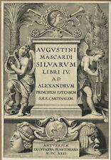Original 1622 engraved frontis from Augustino Mascardi's Siluarum libri IV