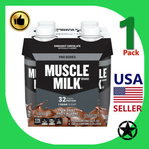1 Pack Muscle Milk Protein Shake Knockout Chocolate 11 fl oz 4 Count Bottle