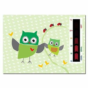 Baby Green Owl and Ladybird Nursery Room Safety Temperature Thermometer Monitor
