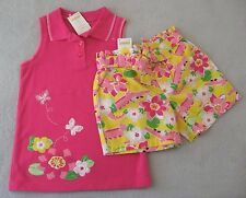 Gymboree 10-12 Girls Island Lily Top Shorts Set Alligator Yellow Pink RV $44 NEW