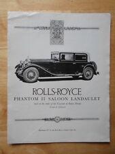 ROLLS ROYCE Phantom II Saloon Landaulet RROC reprint brochure catalog 1977
