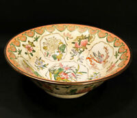 Large antique Chinese bowl. 19th Century Qinglong. Famille rose hand painted.