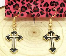 Betsey Johnson Black Gold Enamel Crystal Pierced Crucifix Cross Earrings NWT