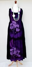 LAGENLOOK OVERSIZED SUMMER HOLI HANDMADE LONG DRESS*BLACK/VIOLET*BUST UP TO 54""