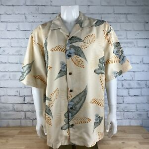 Tommy Bahama Men's Large 100% Silk Camp Button Down Yellow Floral Shirt L