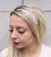 Silver Bridal Headband Wedding Headpiece Diamante Bead Bridesmaid Hair Band 3600