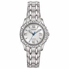 Citizen Eco-Drive Women's EW2360-51A Diamond Silver Tone Dress Watch
