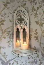 Shabby Chic Cream Mirrored Wooden Wall Sconce Candle Holder Rustic Wedding Home