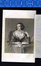 Lady Reading Book at Writing Desk-1851 Victorian Line Engraving