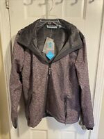 New Womens Free Country Hooded Softshell Ski Jacket Pink Gray XXL Polyester $100