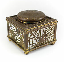 Tiffany Studio Pine Needle Bronze Favrile Footed Inkwell Early 20th Century