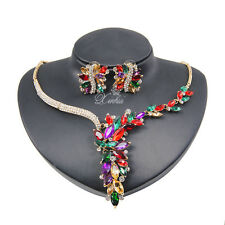 Multicolor Zircon Necklace Earring Set Wedding Gold / Silver Plated Jewelry Sets