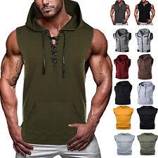 For Men Muscle Hooded Tank Tops Sleeveless Vest Gym Bodybuilding T-Shirt Blouses