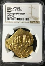 ¡¡ EXTREMELY RARE !! GOLD COB 8 ESCUDOS PHILIP IV 1660 ASSAYER A/C NGC MS64!!