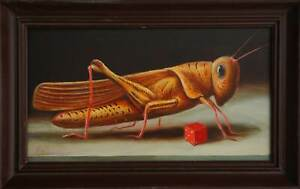 Bild, Surrealismus, signiert, gerahmt, Ölgemälde, Gemälde, Heuschrecke