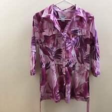 Caribbean Joe Women Button Shirt Purple White Tropical 3/4 Sleeve Petite Med EUC