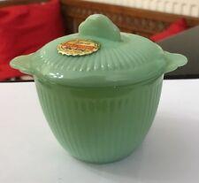 Vintage 1960's Fire King Green Jadeite Jade-ite Jane Ray Patt Sugar Bowl & Lid