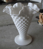 "Vintage Milk Glass Hobnail Ruffled Tall Vase 7 3/4"" Tall"