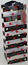 """New 16 Pack Black & Clear W/Dots Cheers Gift Bags 5"""" x 4"""" x 13"""" Beverage / Wine"""
