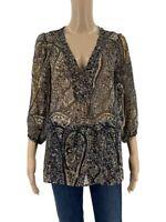 Joie Womens Blouse Size S Brown Paisley Print Silk Top Shirt Semi Sheer Q1