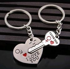 Set Pareja de llaveros del amor llave y corazón con I Love You