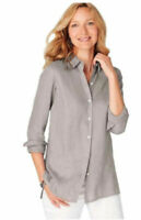 J jill Button up Blouse top Women's Size Large New Sterling Gray Linen Collared