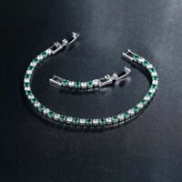 Green Emerald White Topaz Tennis 3mm Gemstone Sterling Silver 925 Bracelet