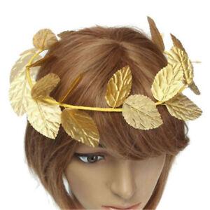 Greek Roman Goddess Gold Toga Leaves Laurel Wreath Head Band Fancy Dress Costume