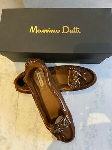 Massimo Dutti brown suede moccasin shoes, size 5. Great condition!