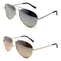 NWT Retro Pilot Aviator Sunglasses Brooks MIrror Lens Spring Hinge Metal Frame