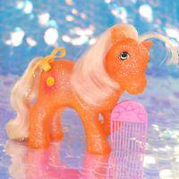 Vintage My Little Pony Sparkle Ponies SUNSPOT Glitter Sun Hair Pick G1 MLP BD914