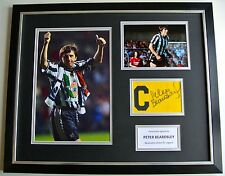 Peter Beardsley SIGNED FRAMED Huge Captains Armband Display Newcastle PROOF COA